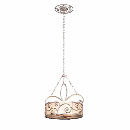 Silver Mica Shade - Kalco 5415SV/S283 Up Pendants with Stained Mica Shades, Polished Silver Finish