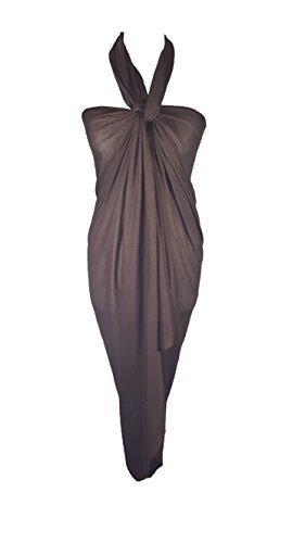Uni Sarong, abarcará, bufanda, gran tamaño, 110 cm x 200 cm Marron Chocolat