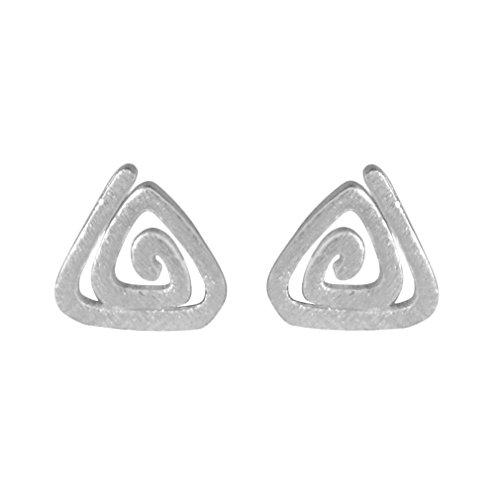 Trendy 925 Sterling Silver Women's Cute Multiple Triangles Maze Stud Earring Girl Wedding Gift Jewelry ()