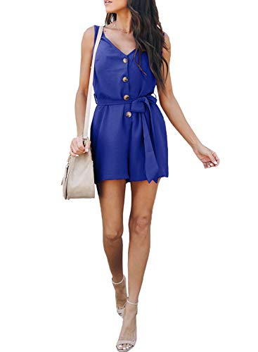 (Elapsy Womens Fashion 2019 Summer Sleeveless V Neck Belted Buttons up Short Wide Leg Romper Jumpsuit Playsuit Blue Small)