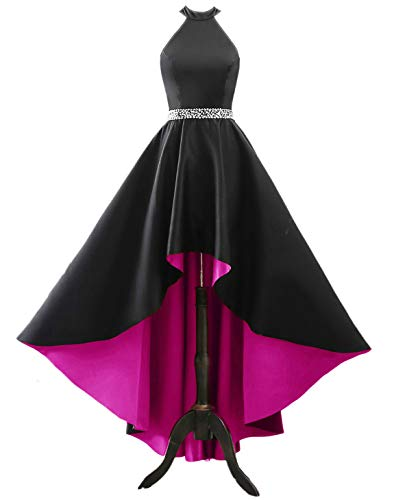 - Changuan Halter High Low Evening Party Dress Long Satin Homecoming Prom Formal Gowns Black/Hot Pink-14