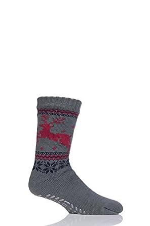 Mens 1 Pair Totes Sherpa Lined Christmas Fairisle Slipper Socks ...