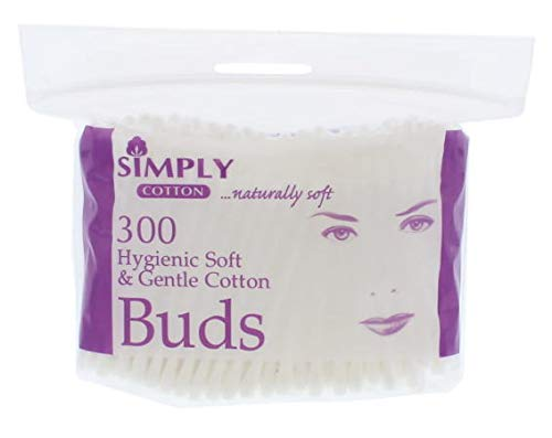 Simply 100% Pure Cotton Buds, Hygenic, Soft & Gentle Cotton Buds - Qty 300