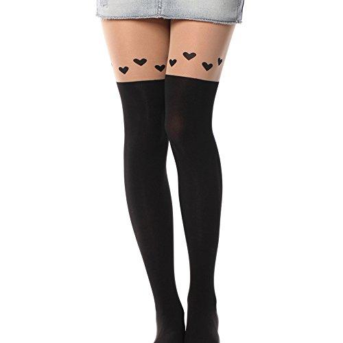Kawaii Tights Stockings Cute Cartoon Animal Mock Knee Nude High Tattoo Leggings Love