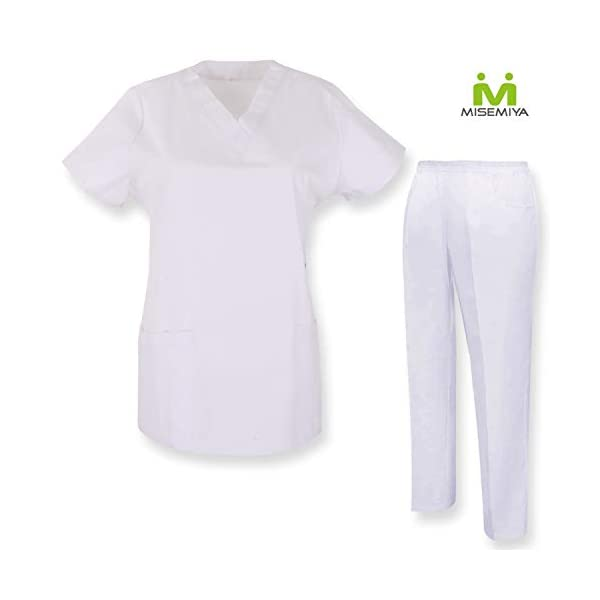 MISEMIYA Casaca Y Pantalón Unisex Uniformes Sanitarios Médicos Enfermera Dentistas Camisa de utilidades de Trabajo Adulto 2