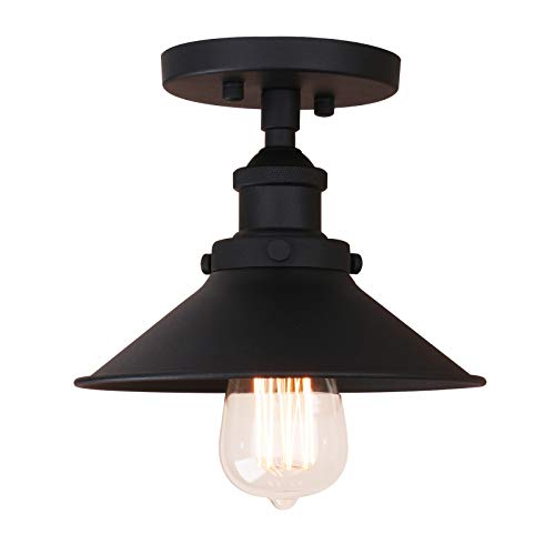 Pathson Vintage Ceiling Light with Semi-Flush Mounted Metal Shade Ceiling Lamp Fixtures for Hallway Loft Kitchen Bar Close to Ceiling (Black)