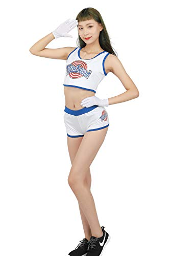 XCOSER Womens Lola Bunny Basketball Jersey Costume Lovely Tank Top & Shorts & Gloves -