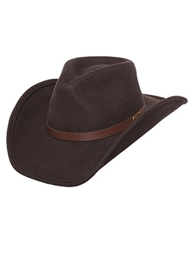 Men's Outback Wool Cowboy Hat Dakota Brown Shapeable Western Felt by Silver Canyon, Brown, Medium