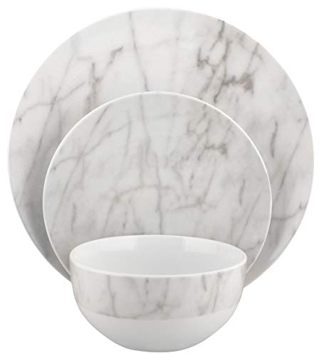 Melange Coupe 36-Piece Porcelain Dinnerware Set (White Marble) | Service for 12 | Microwave, Dishwasher & Oven Safe | Dinner Plate, Salad Plate, Soup Bowl (12 Each) ()