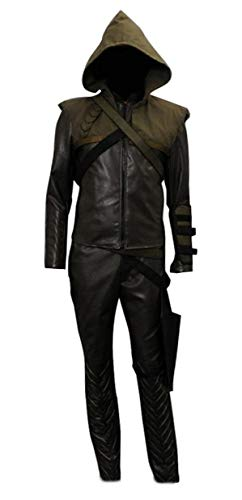 Very Last Shop Men's Archer Costume Brown Faux Leather Hoodie and Pants Set with Accessories (US Men-XL, Brown) -