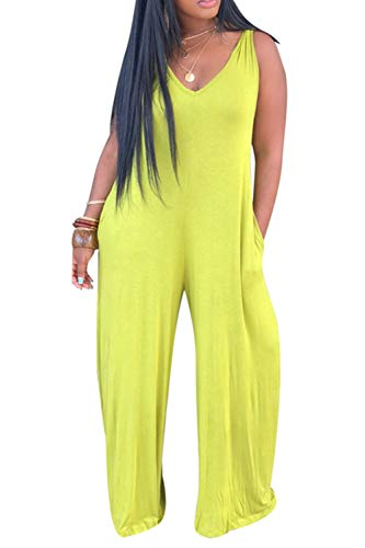 Katblink Long Romper Jumpsuit for Women - Casual Sleeveless V-Neck Hooded Solid Color Wide Leg Pants Set Yellow M