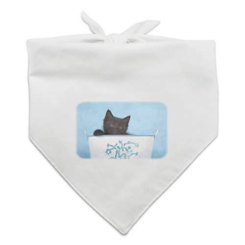 Graphics and More Black Kitten Cat in Bucket Tin Pail Dog Pet Bandana - - Wht Tin