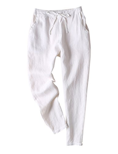 IXIMO Women's Tapered Pants 100% Linen Drawstring Back Elastic Waist Pants Trousers with Pockets White L