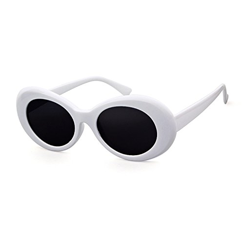 Bold Retro Oval Mod Thick Frame Sunglasses Clout Goggles with Round Lens]()