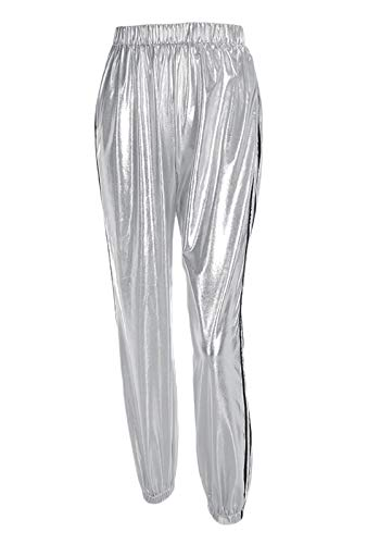 Cindaisy Women Shiny Metallic Pants Drawstring Waist Striped Side Jogger Sweatpants with Pocket (Striped Metallic Pant)
