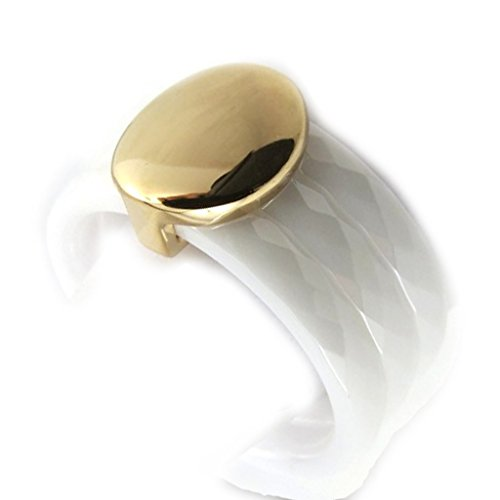 Bague Plaqué Or 'Chorégraphie' blanc céramique
