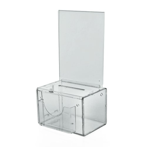 Azar 206388 Acrylic Suggestion box with Pocket, Lock and Keys, Small, Clear by Azar