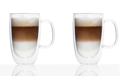 Double Wall Glass Coffee Mug 325ml Set Of 2 by Brilliant