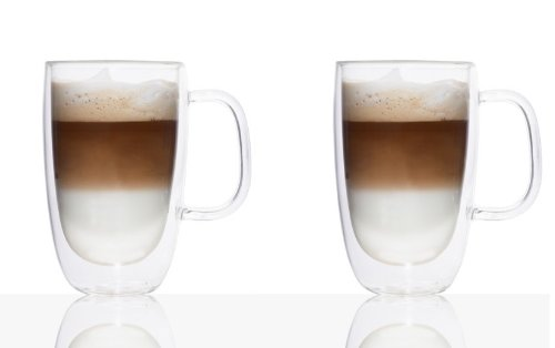 Double Wall Glass Coffee Mug 325ml Set Of 2 Amazoncouk Kitchen