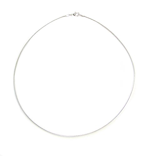 Linpeng Omega Silver Thin Collar Wire Choker Necklace, 17