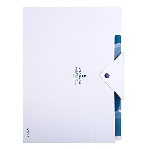 Skydue PP Expanding File Folder Accordion Documents Letters Organizer, 5 Pockets, A4 Size, White