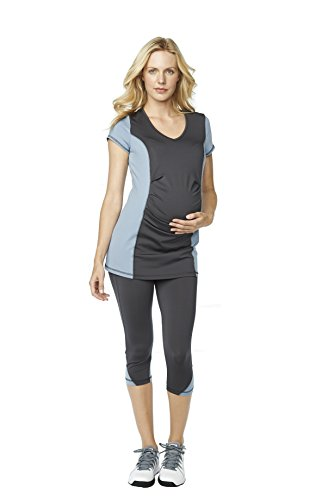 Maternal America Belly Pleat Active Maternity Top, Grey/Charcoal, Large