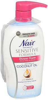 Nair Shower Power Sensitive Hair Removal for Legs Body, 12.6 fl oz
