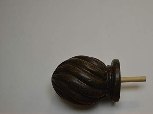 (1 Pair Italian Walnut 2 Inch Short Moorish Twist Finial Antique Drapery Rod Co HII2MW)