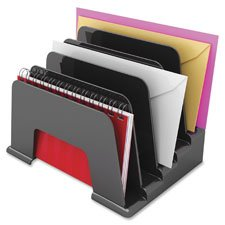 Small Inclined File Sorter, 5 Compartment, Black, Sold as 1 Each