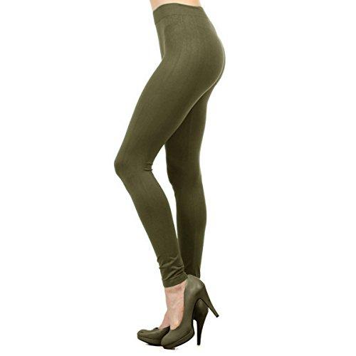 - Ekimo T-USA Seamless Stretch Solid Full Length Leggings Slim Tights (Olive Green)