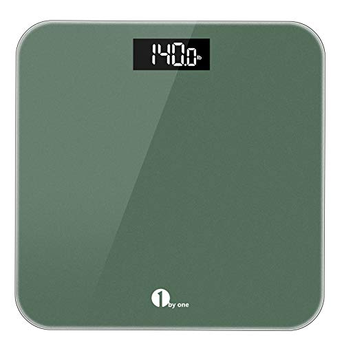 1byone Digital Scales for Body Weight, Bathroom Scales with Step-on Technology, Backlit Display, High Accuracy 0.1lb, 400 Pounds,Tape Measure and Batteries Included, Light Green