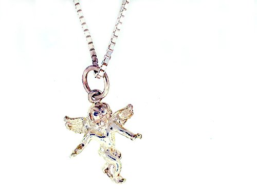 Beautiful! Pendant Necklace Sterling-silver Angel with Italian Made Box-chain 20 inch