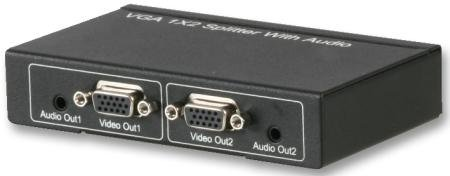 Vga + Audio 2-Port Splitter Metal Body With Rubber Feet No Settings Required