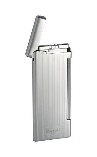 Visol Products Caseti Nox Chrome Lines II Soft Flame Flint Lighter (Line 2 Lighter)