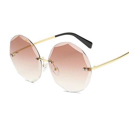 Personalidad Mujeres amp;HA Gafas Gafas Lenses Sol De Moda Poligonales Trim Wide Gradientgrey Frameless Gran 65 Gradientbrown Z Marco Mm nvdAx1YY