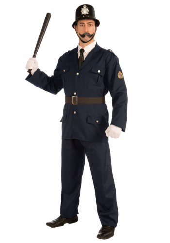 Forum Novelties Men's British Bobbie Costume Police Uniform, Blue, Standard (Adult Cop Belt)