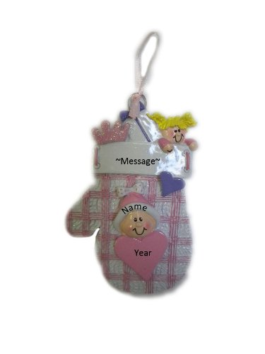 Personalized Baby Mitten Pink Holiday Gift Expertly Handwritten Ornament