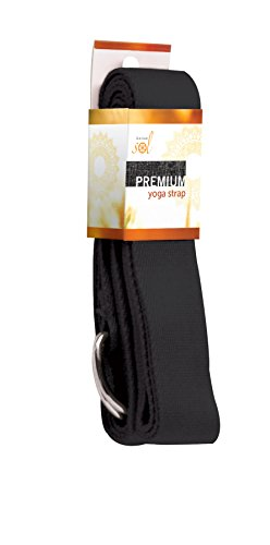 Gaiam Sol Premium Yoga Strap, Black, 8-Feet
