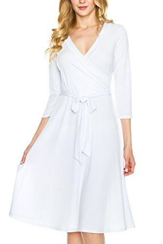 Length Sleeve Tie (KLKD A071 Women's Solid 3/4 Sleeve Knee Length Self-Tie Faux Wrap Dress White Large)