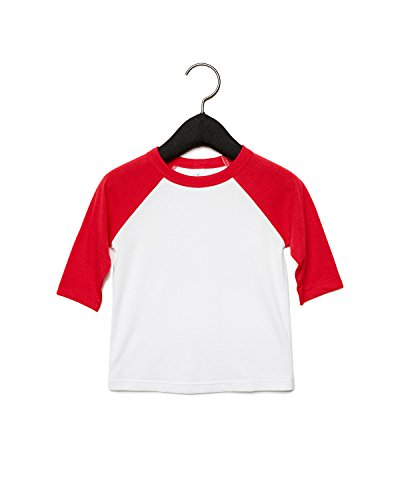 (Bella Canvas 3200T Toddler 3/4-Sleeve Baseball T-Shirt White/Red 3T)