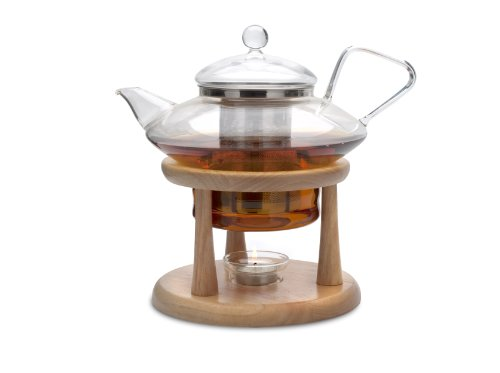 Adagio Teas 30 oz. Glass Teapot & Wooden Stand