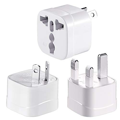 Universal Travel Adapter Plug,10A 100-250V AC Adapter Power Converters Plug Adapter 3 Pack (White-2UK1US)
