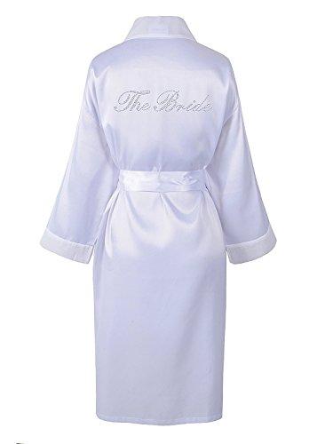 accappatoio Rhinestone kimono con accappatoio satin Sacchettino wedding in Bride day diamante bianco The TZfvWqxUw