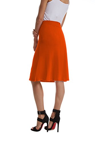 TBONTB Womens Plus Size Flowy Flare Midi Skirt XXXX-Large Orange