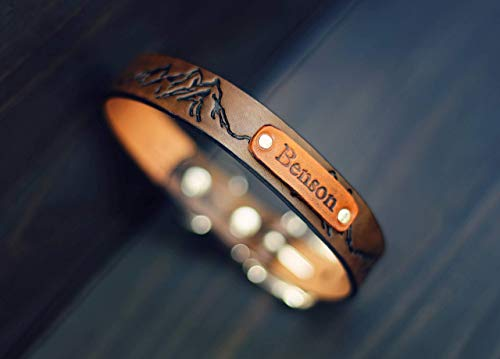 Personalized Leather Dog Collar, Custom Leather Dog Collar, Handmade personalized gift, Brown Stain, Mountains, Name, number personalization
