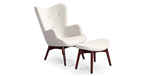 Kardiel Grant Featherston Contour Style Wing Chair & Ottoman, Heather Cashmere Wool, Walnut legs
