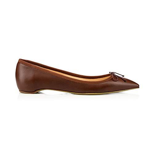 Simples Ballet Pied Longue 1Cm Chaussures Un Chaussures Chaussures Talon Pointé Arc Femmes Confortable Plates Du Hauteur Journée Brown Simples Pompes WqI0U8OA