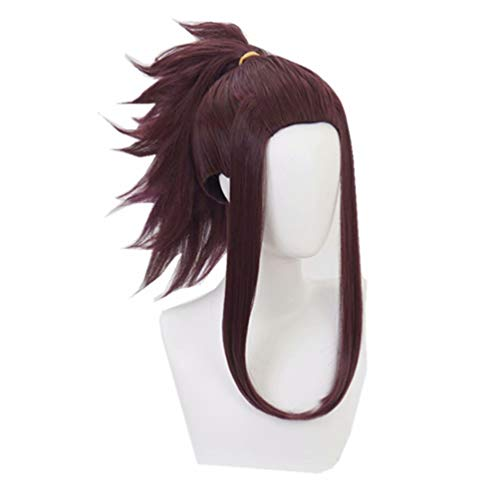 Kadiya Heat Resistant Deep Mixed Brown Short Prestyled Pigtail Girl Anime Convention Halloween Role Play Cosplay Costume Wig]()