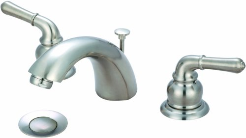 - Olympia Faucets L-7330-E1.5-BN Accent Two Handle Widespread Lavatory Faucet and 50/50 Pop-Up Drain Assembly with 1.5 GPM Flow Rate, Brushed Nickle