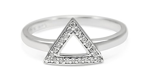 The Collegiate Standard Delta- Geometric Inspired Triangle Sterling Silver Ring with CZs (7)